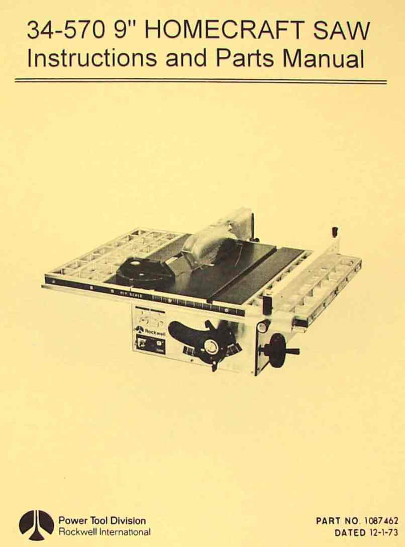 Rockwell Homecraft 34 570 9 Table Saw Operator S Parts Manual Ozark