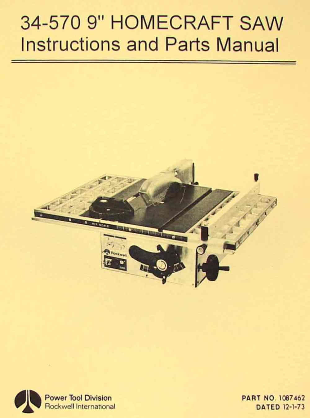 medium resolution of rockwell homecraft 34 570 9 table saw operator s parts manual
