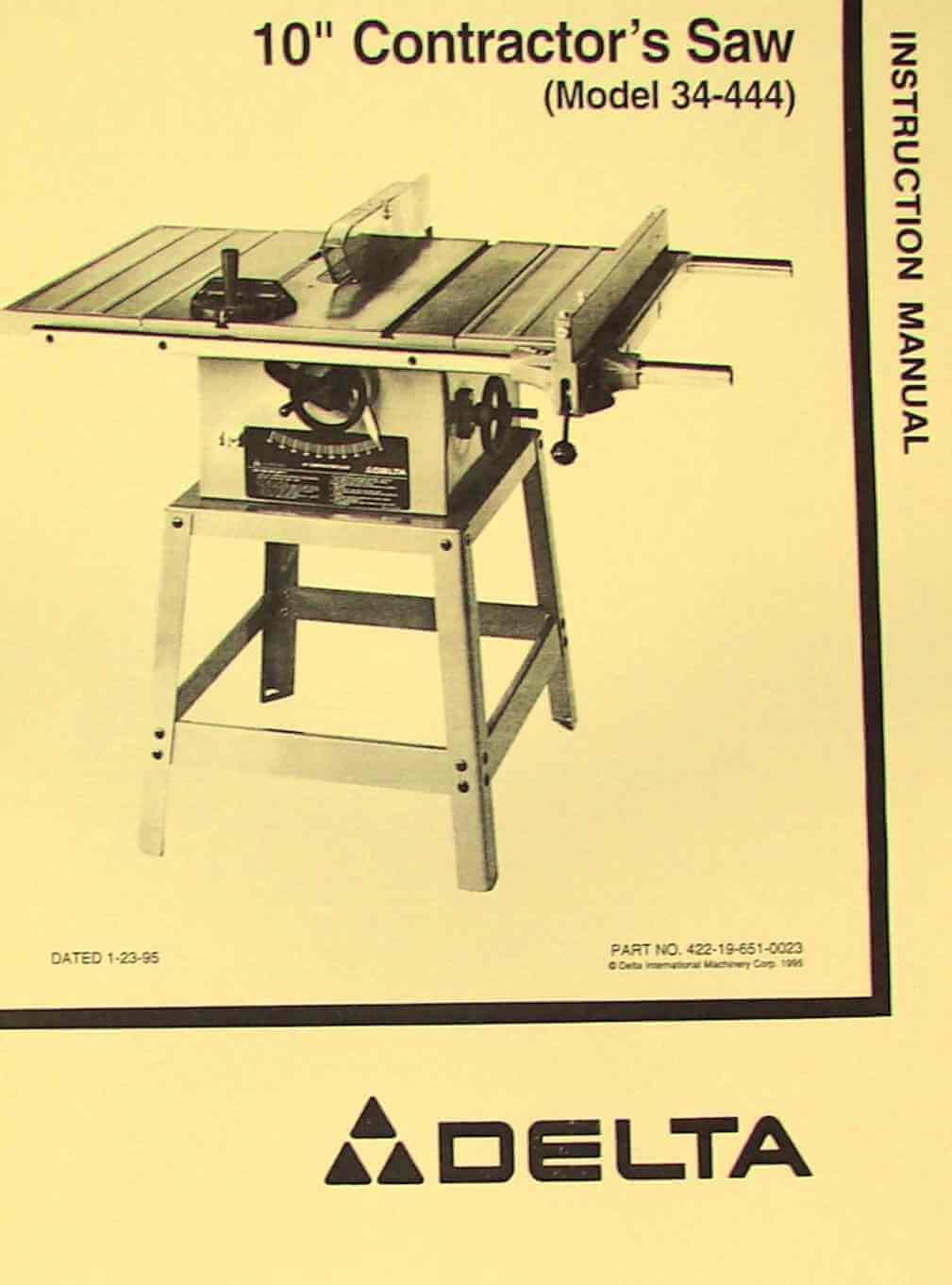 Delta Model 10 Contractor Saw Manual