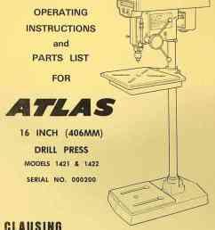 atlas clausing 16 drill press 1421 1422 instructions parts manual [ 957 x 1292 Pixel ]
