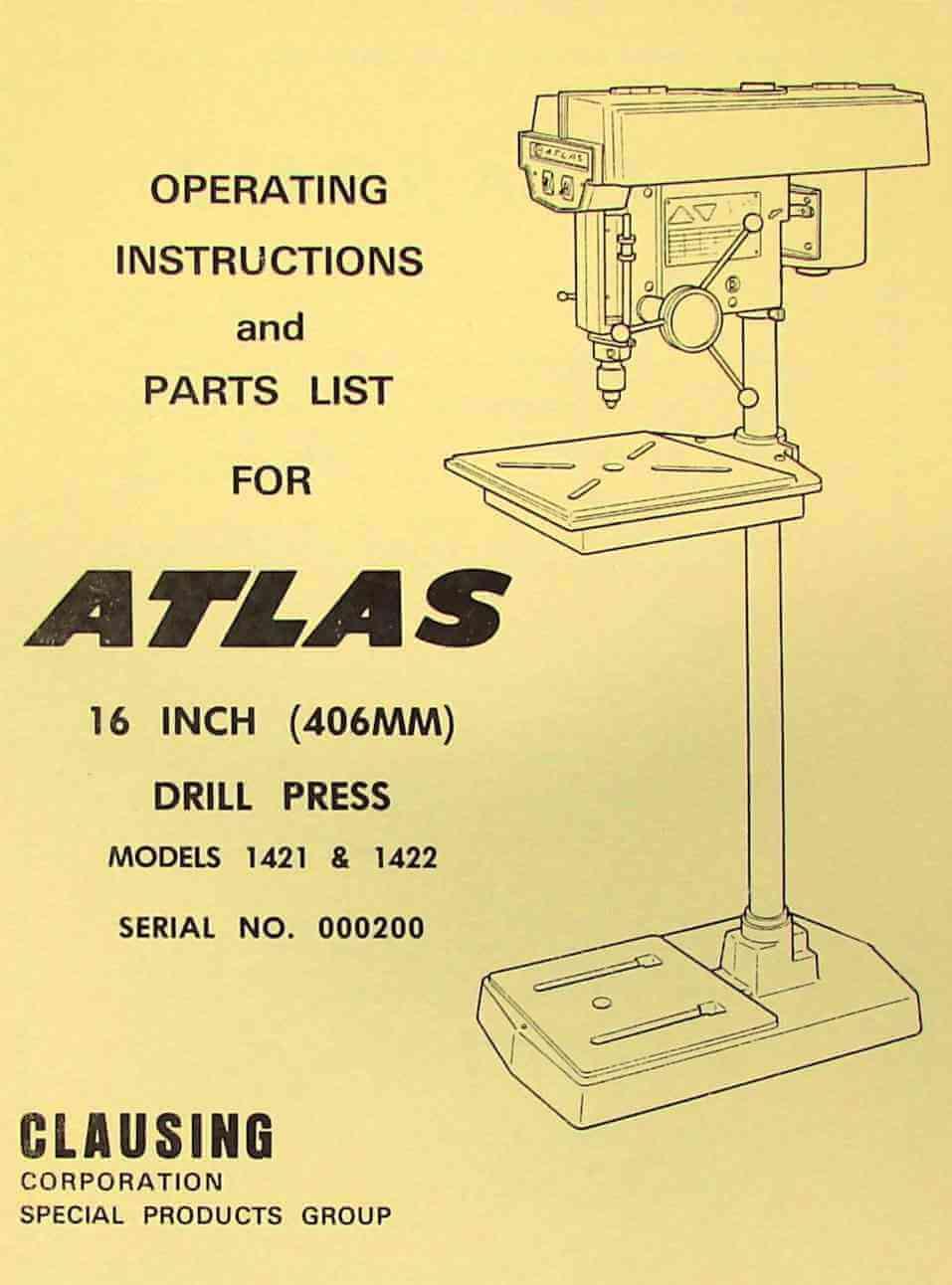 medium resolution of atlas clausing 16 drill press 1421 1422 instructions parts manual