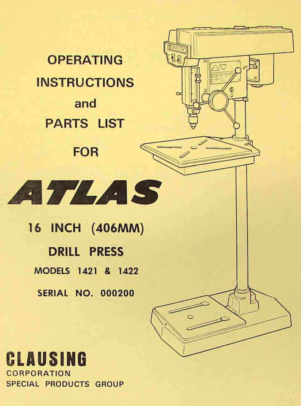 hight resolution of atlas clausing 16 drill press 1421 1422 instructions parts manual