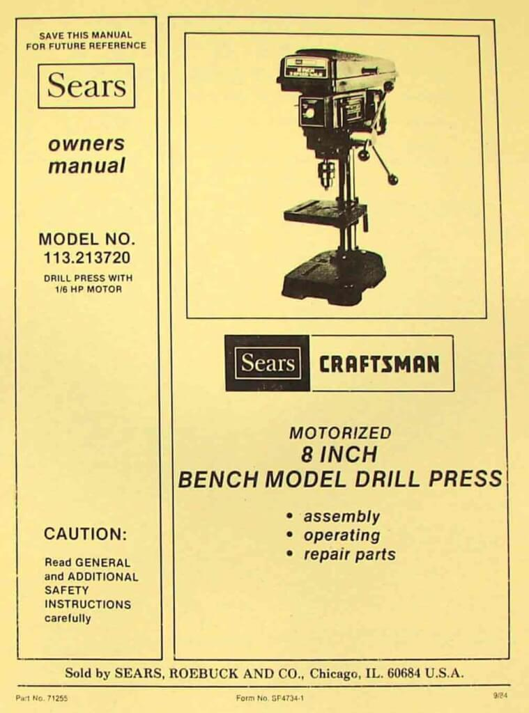 Craftsman 113 213720 8 Quot Bench Drill Press Instructions