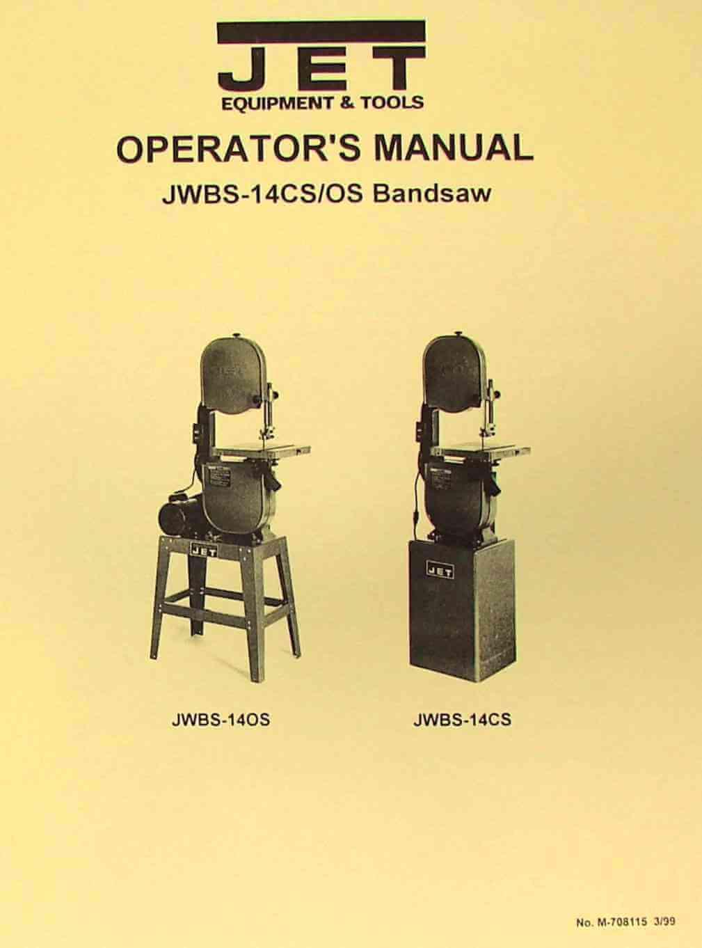 Jet 10 Bandsaw Manual