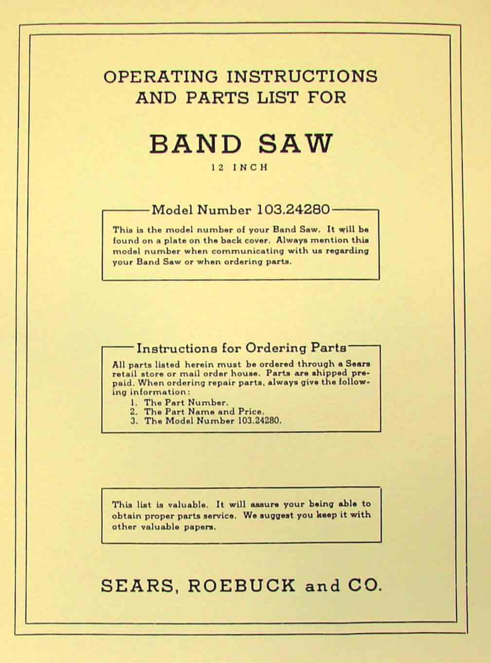 Craftsman 12 Inch Band Saw Parts Diagram