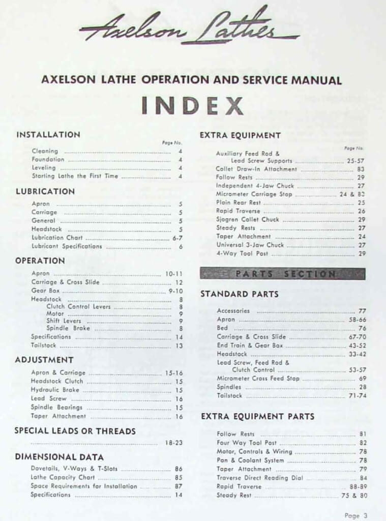 AXELSON 14-16-20-25-32 Heavy Duty Engine Lathes Service