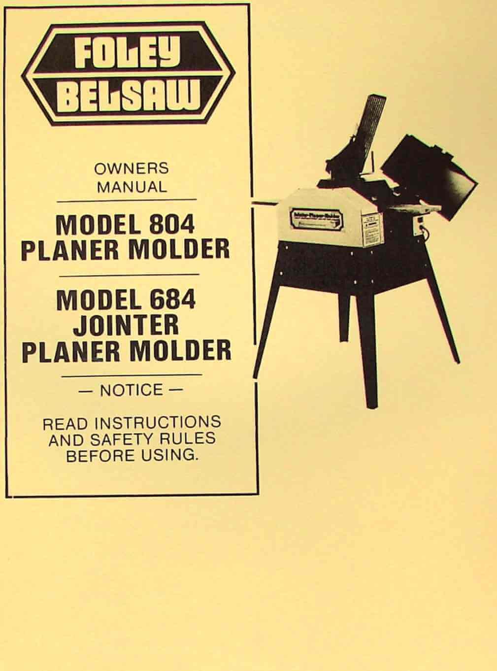 Foley Belsaw Planer Molder