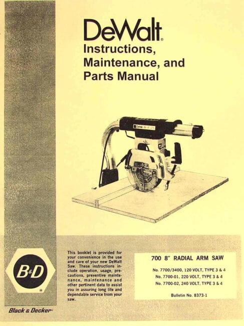 And Owners Manual Decker Saw Black 8 Table