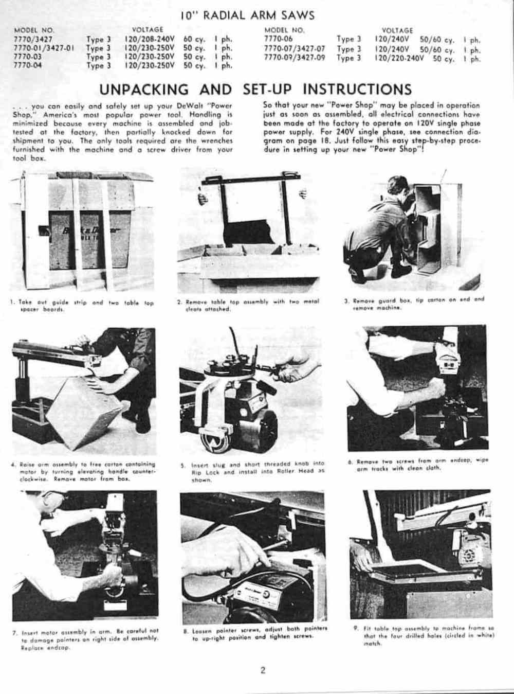 medium resolution of dewalt 7770 10 inch radial arm saw owner s instructions and parts manual