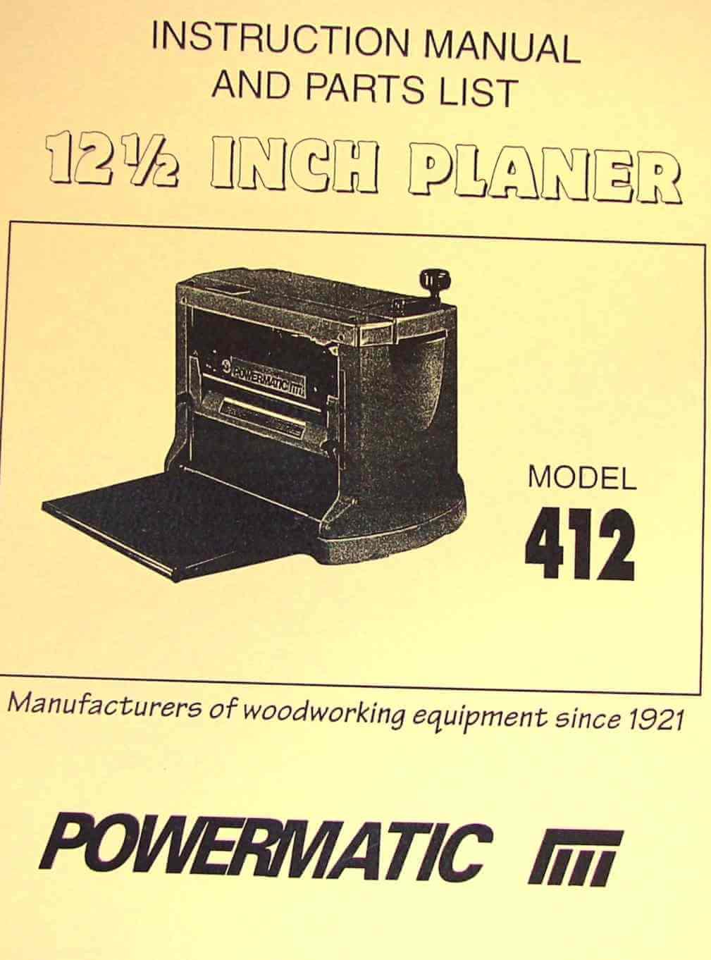 Powermatic Model 15 Planer Parts