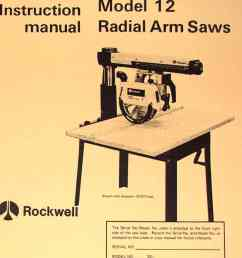 rockwell model 10 12 radial arm saws owners instructions parts manual ozark tool manuals books [ 1009 x 1362 Pixel ]
