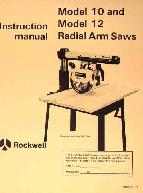 small resolution of rockwell model 10 12 radial arm saws owners instructions parts manual ozark tool manuals books