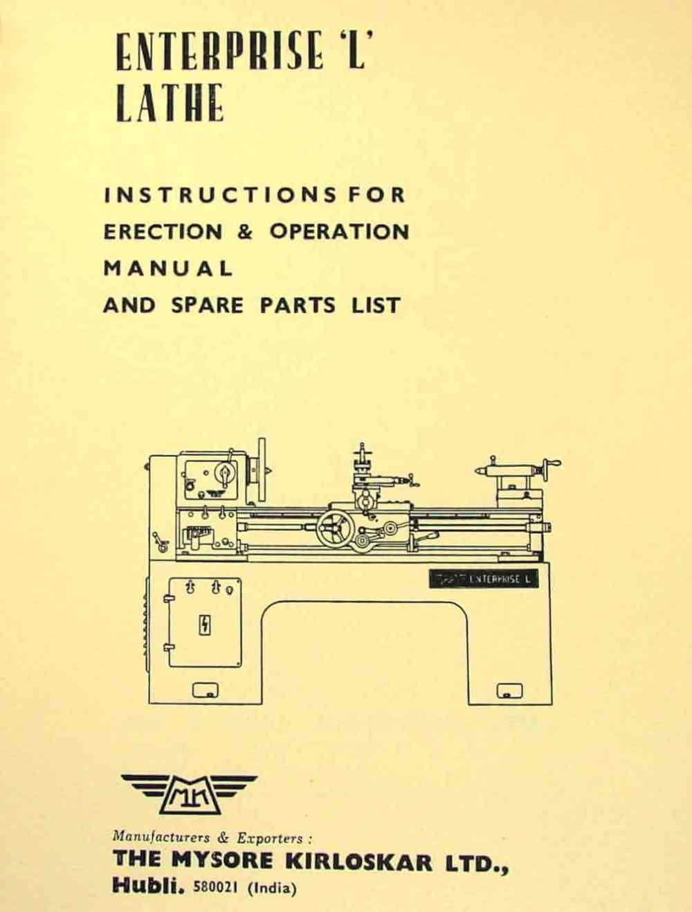 medium resolution of mysore kirloskar l1 l2 enterprise 15 lathe instructions and parts manual