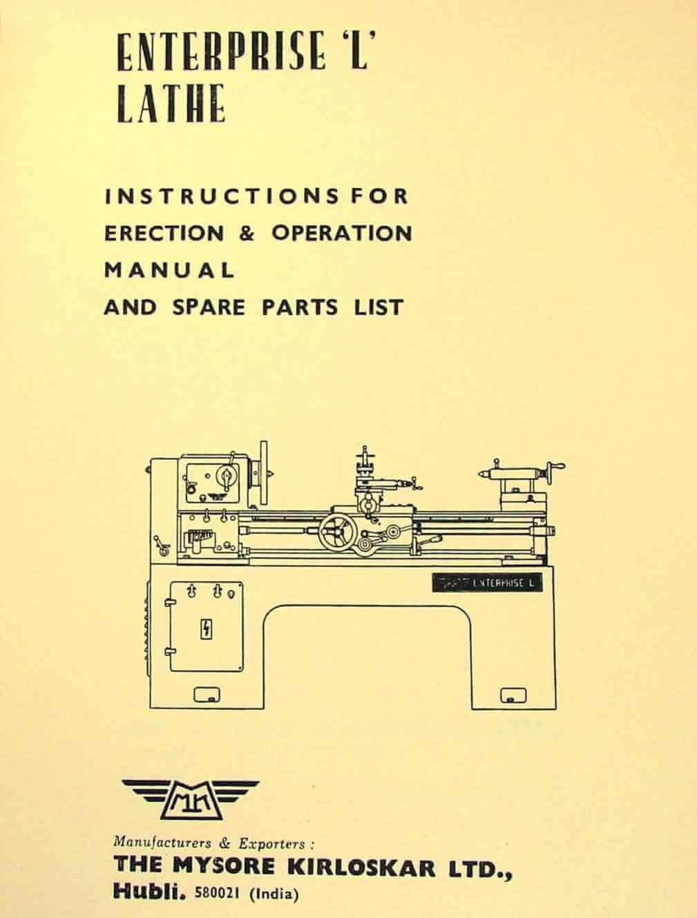hight resolution of mysore kirloskar l1 l2 enterprise 15 lathe instructions and parts manual