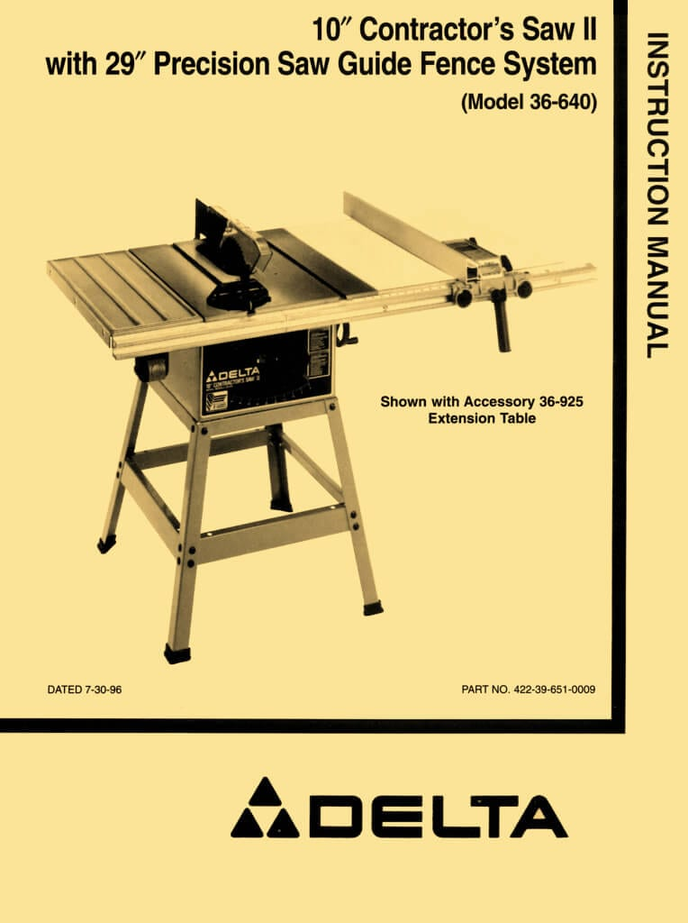 Delta 36 640 10 Quot Contractor Table Saw Ii Instructions