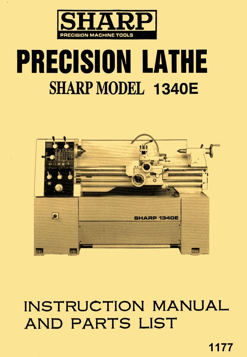 hight resolution of sharp 1340e jet gh 1340t 13 x 40 metal lathe owner s instructions parts manual