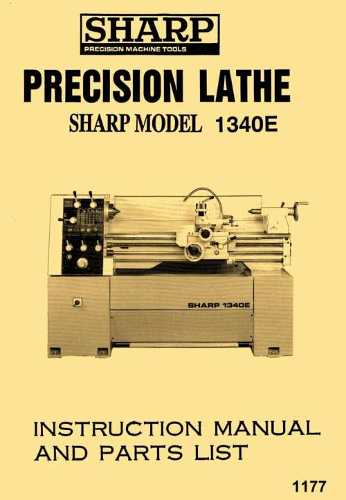 small resolution of sharp 1340e jet gh 1340t 13 x 40 metal lathe owner s instructions parts manual