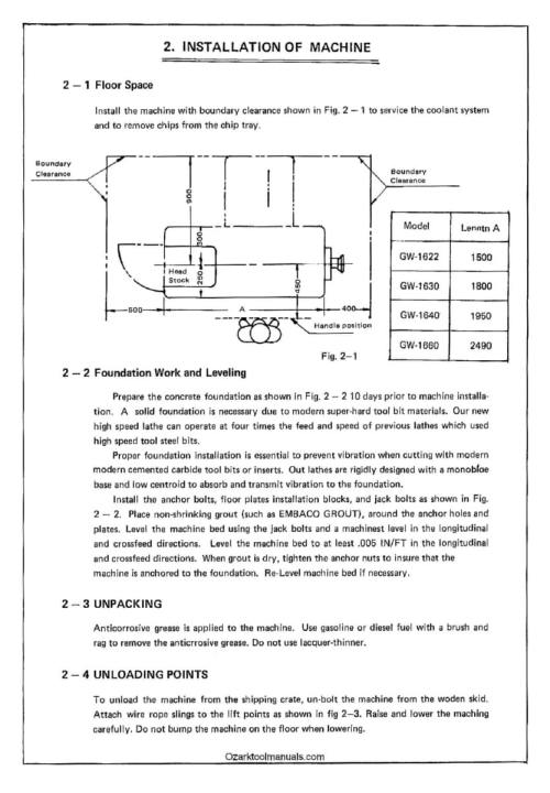 small resolution of goodway gw 1622 1630 1640 1660 metal lathe instructions manual