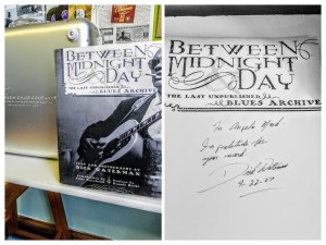 cover of the book Between Night and Day with a note to Angela Mack from Dick Waterman