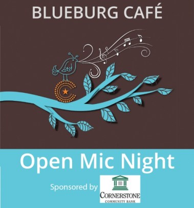 Blueburg Cafe Open Mic Night Logo