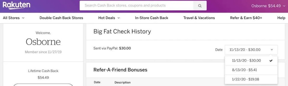 Rakuten cash back example