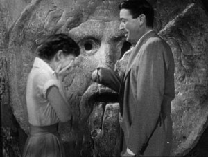 Audrey Hepburn and Gregory Peck at the Bocca della Verità (Mouth of Truth) Roman Holiday movie