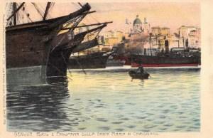 Genova, porto e panorama colla Santa Maria di Carignano
