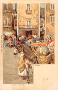 Naples Italy Market Scene Donkey Merchant Antique