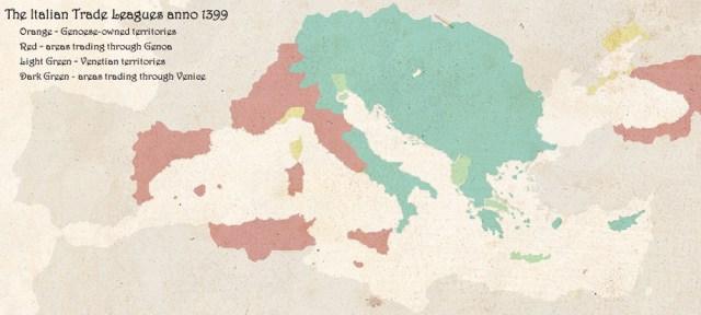 Italian Trade league 1399 Venetiand and Genoese