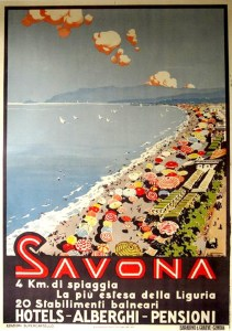 savona beach vintage travel poster spiaggia riviera italy