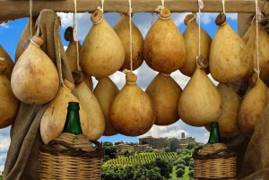 Caciocavallo ceheese and Toscana, Italy