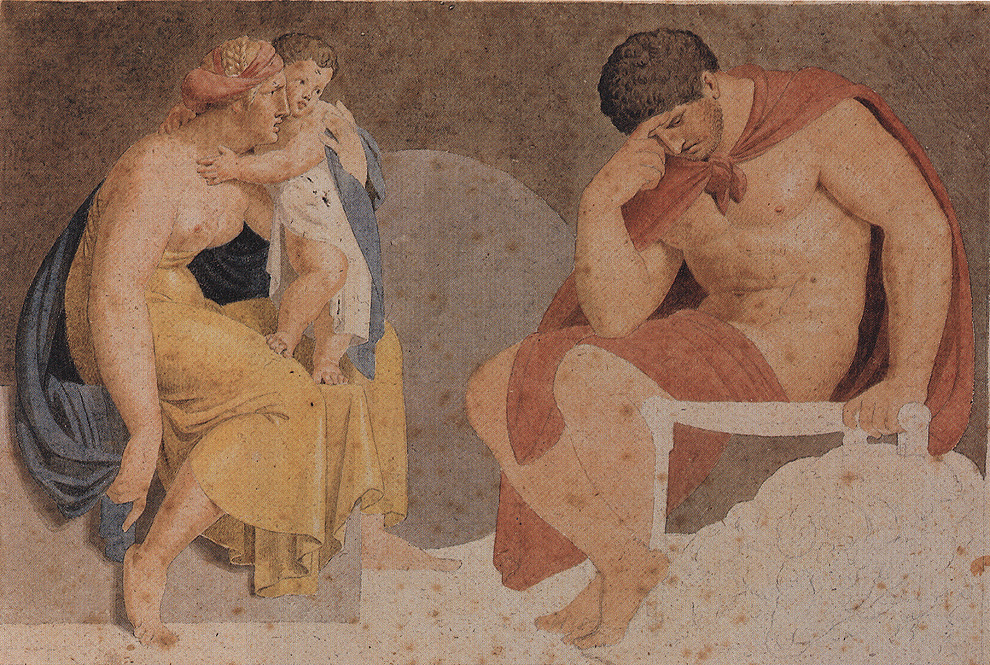 Asmus Jakob Carstens, Sorrowful Ajax with Termessa and Eurysakes, um 1791. Water color over graphite, 22.7 x 33.6 cm, Weimar, Kunstsammlungen.