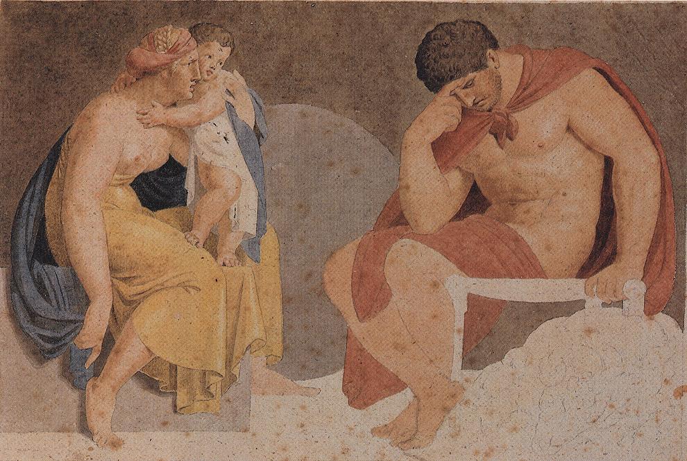 Asmus Jakob Carstens, Sorrowful Ajax with Termessa and Eurysakes, um 1791. Water color over graphite, 22.7 x 33.6 cm, Weimar, Kunstsammlungen.