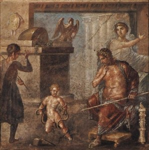 Hercules strangling the snakes before the eyes of Amphitryon and Alcmene. Fragment
