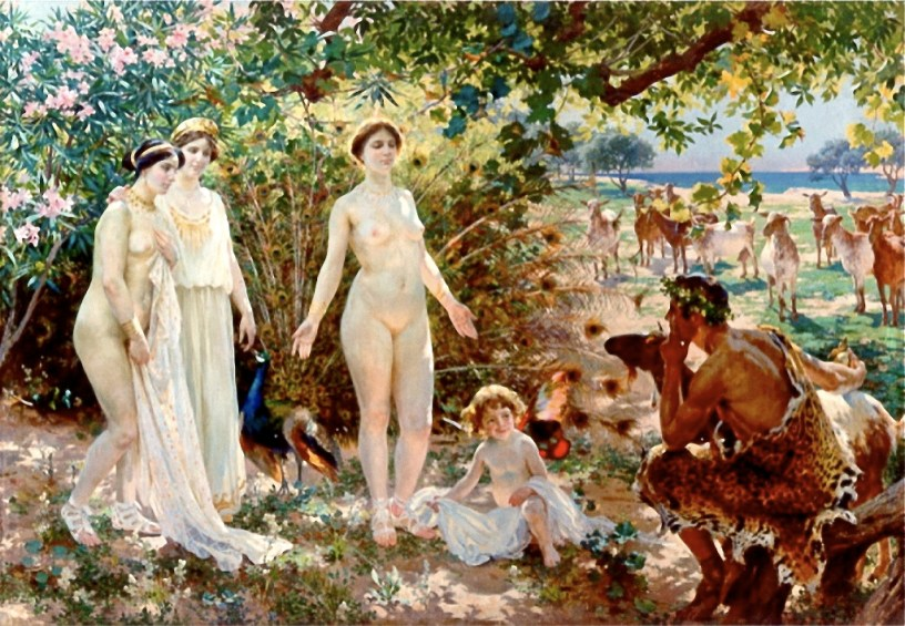 The painting shows the Judgment of Paris, an event in Greek mythology. Figures, from left to right: The goddesses Athena, Hera and Aphrodite, then Aphrodite's son, Eros, and Paris.