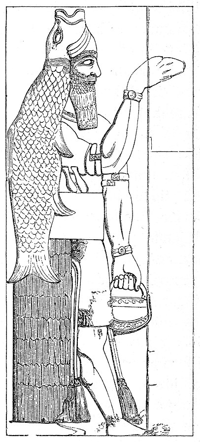 The Dagon bas-relief from Nimrud, discovered by Austen Henry Layard in 1845/7.