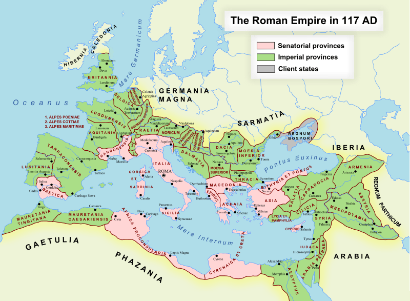 Roman empire map 117 AD