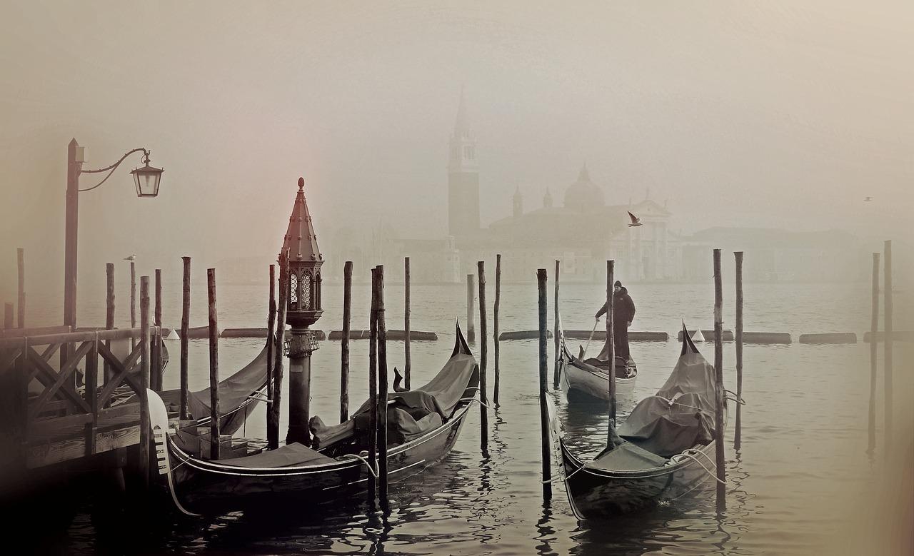 Venice Italya Gondol Lagün