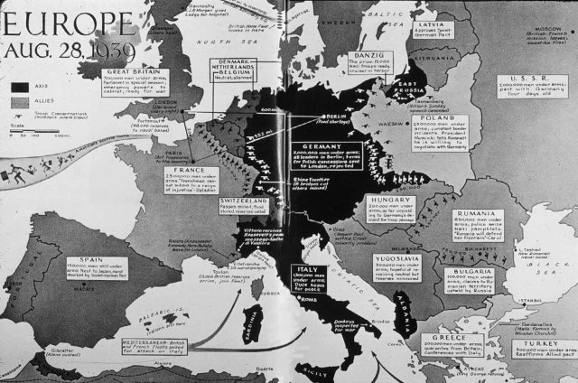 Map of Europe on brink of war. Germans have invaded Poland from west, south (Slovakia), & north (East Prussia) & taken free city of Danzig