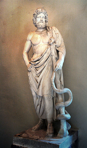 Statue of Asclepius, exhibited in the Museum of Epidaurus Theatre.