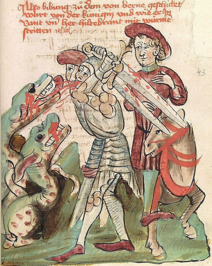 Dietrich von Bern and Hildebrand fight against dragons. UBH Cod.Pal.germ. 324 Virginal, fol. 43r. Diebolt Lauber, Hagenau 1444-1448