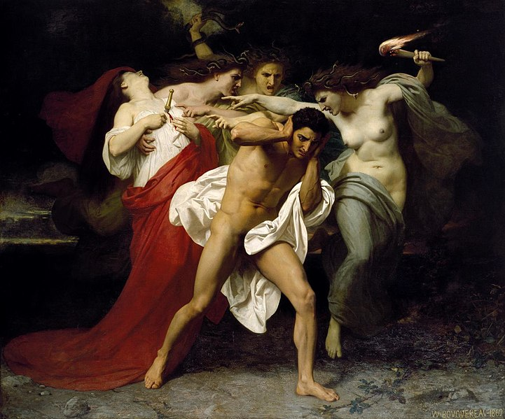 The Remorse of Orestes, where he is surrounded by the Erinyes, by William-Adolphe Bouguereau, 1862