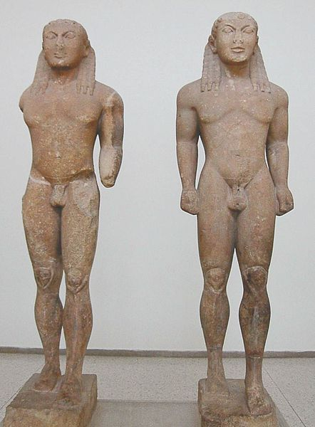 Statues of Kleobis and Biton (identified by inscriptions on the base) dedicated to Delphi by the city of Argos, signed by [Poly?]medes of Argos. Marble, ca. 580 BC. H. 1.97 m (6 ft. 5 ½ in.), after restoration. Archaeological Museum of Delphi, no. 467, 1524.