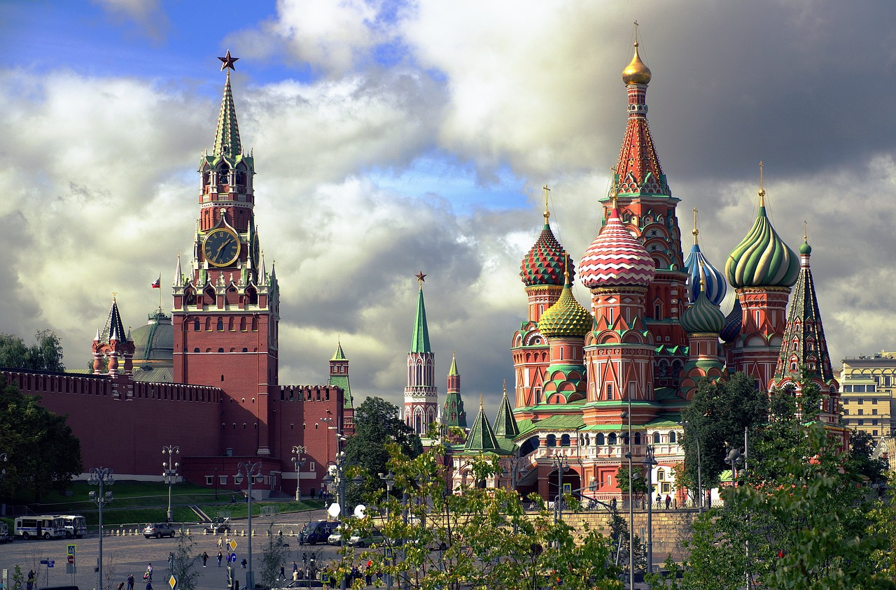 Moscow Spasskaya Tower St Basil's Cathedral Russia he Cathedral of the Intercession of the Virgin on the Moat is better known as the Cathedral of Saint Basil the Blessed: St Basil's Cathedral. It is the most recognizable church in Russia.