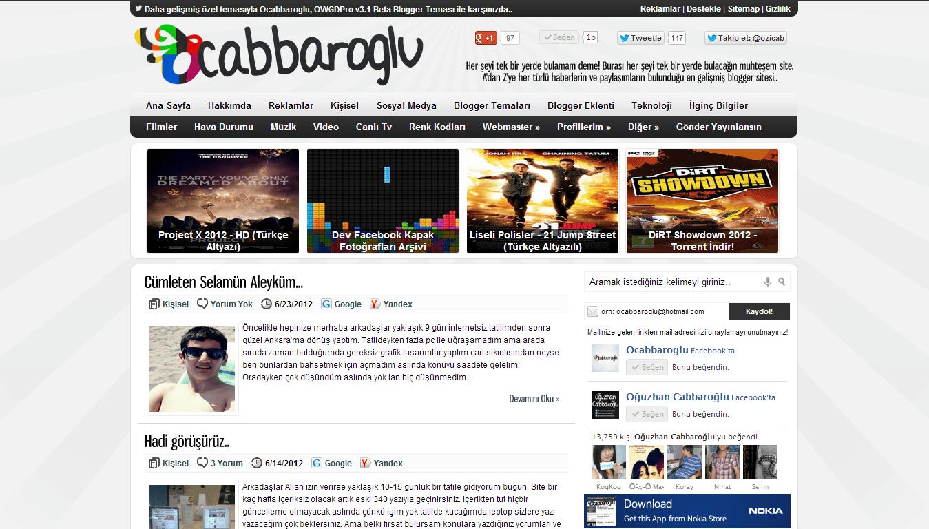 Ocabbaroglu Pro V2 Blogger Teması [ÜCRETSİZ]