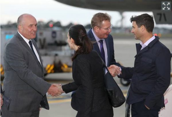 Ardern greeted by Australian officials March 2018
