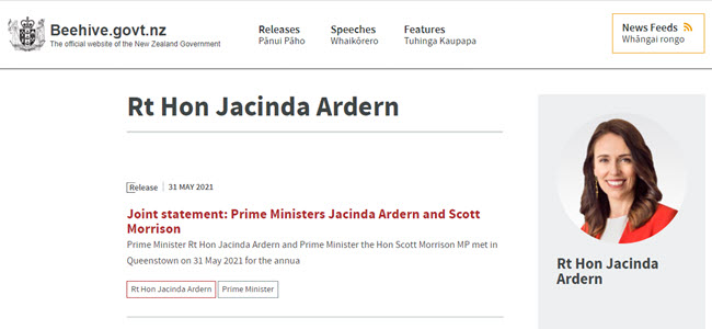 Ardern Morrison joint statement 31 May 2021