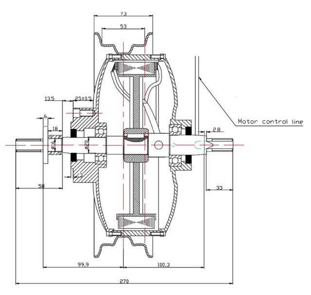 Hudge Single Axle motor 1500W 36V-48V