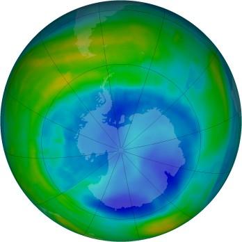 Antarctic ozone map for 2015-08-29