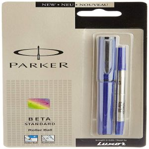 Parker Beta Standard Roller Blue Ball Pen With Stainless Steel Trim